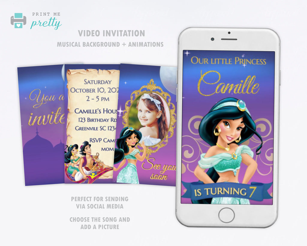 Jasmine Video Invitation | Jasmine Phone invitation - Print Me Pretty