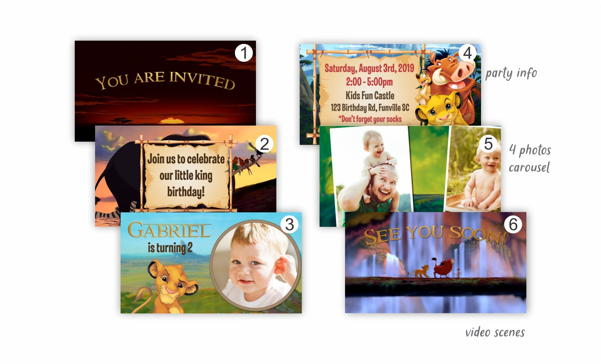 Lion King Video Invitation | Animated Card - Print Me Pretty