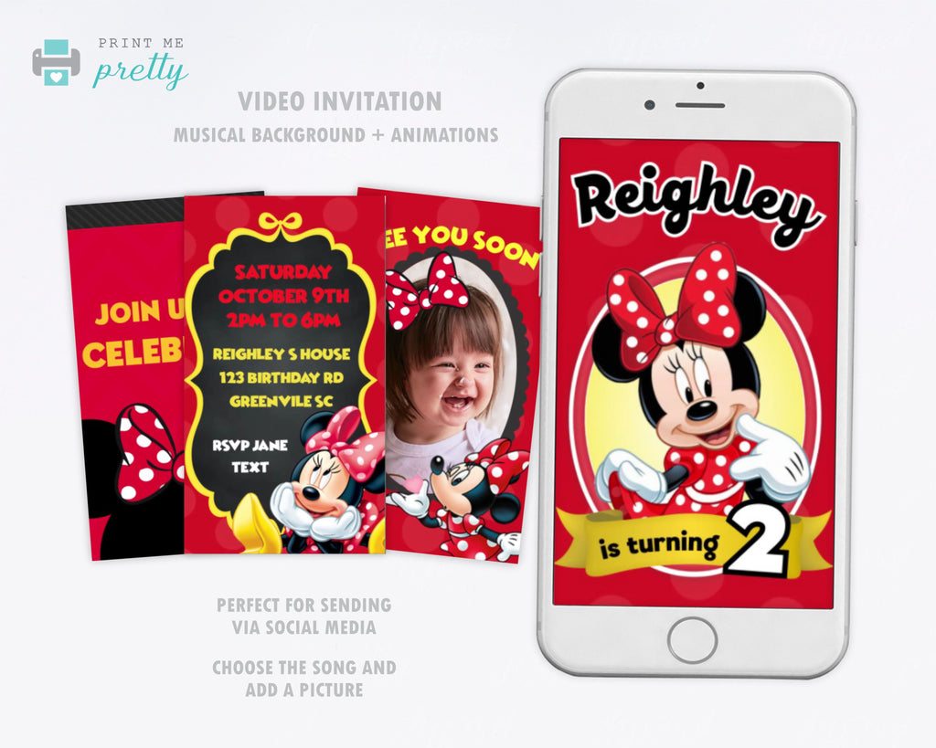 Minnie Mouse Birthday Invitation Video Animated Card - Print Me Pretty