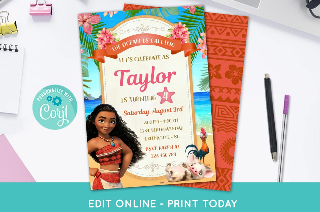 Moana Birthday Invitation - Print Me Pretty