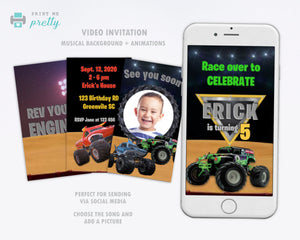 Monster Jam Video Invitation | Monster Truck Birthday invitation - Print Me Pretty