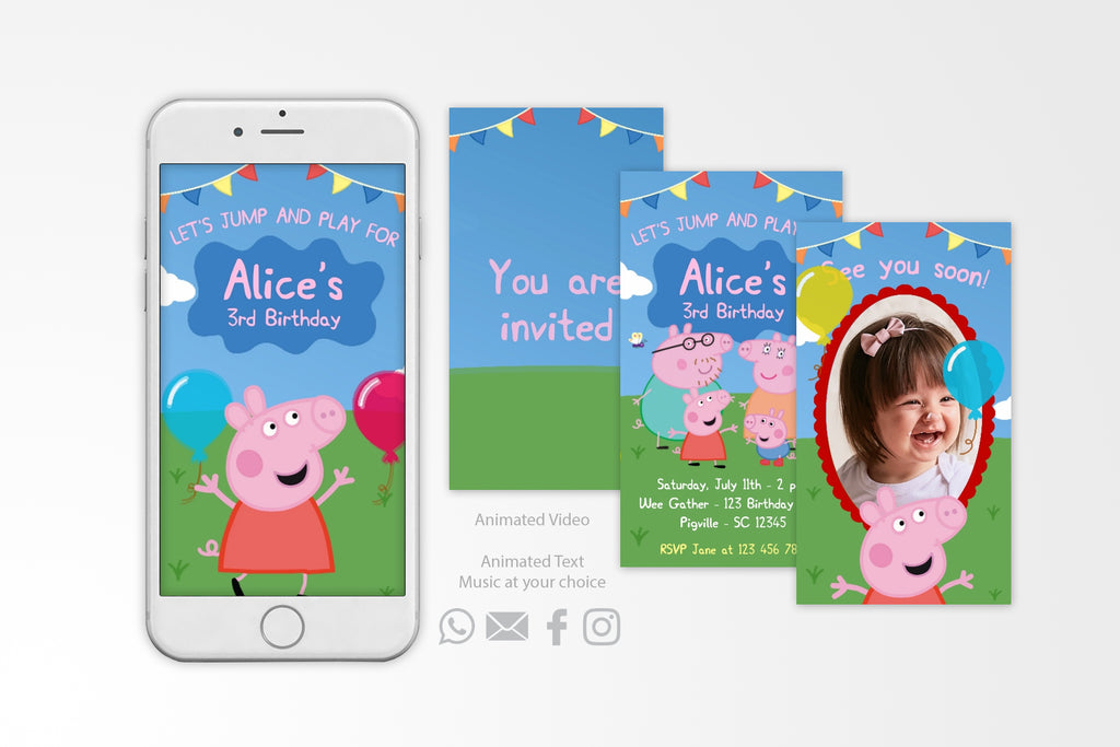 Peppa Pig Video Invitation - Print Me Pretty