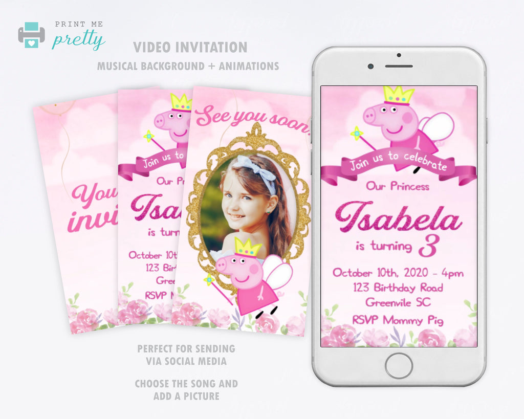 Princess Peppa Pig Video Invitation - Print Me Pretty