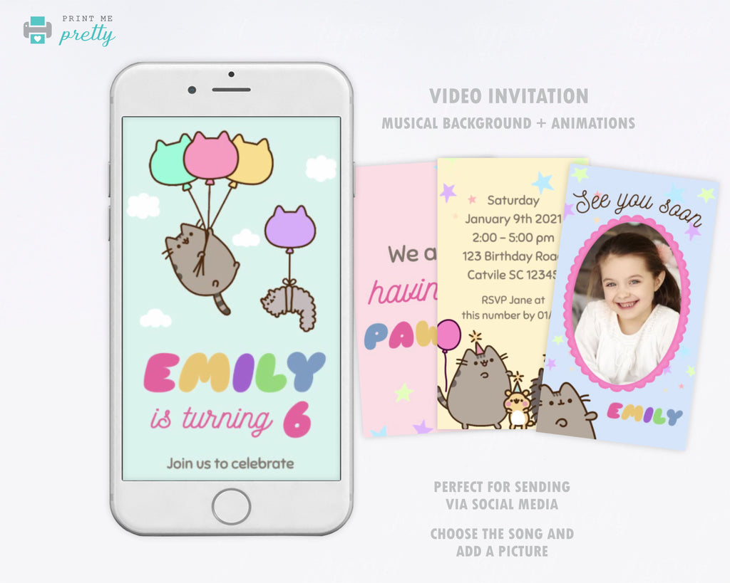 Pusheen Birthday Invitation Video Evite - Print Me Pretty