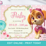 Skye Paw Patrol Birthday Invitation - Print Me Pretty