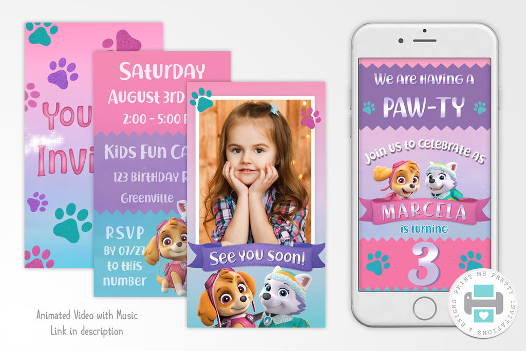 Paw Patrol Skye and Everest Video Invitation - Print Me Pretty