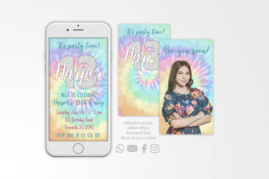 Tie Dye Video Invitation Animated Card - Print Me Pretty