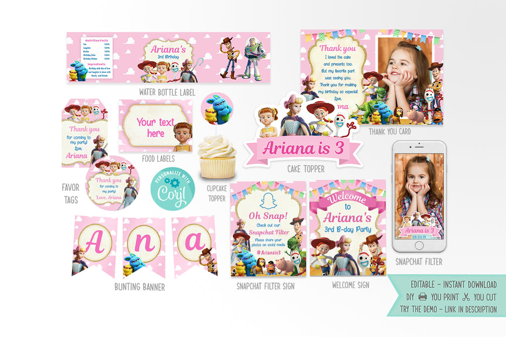Toy Story 4 Party Printables Bundle Girl - Print Me Pretty