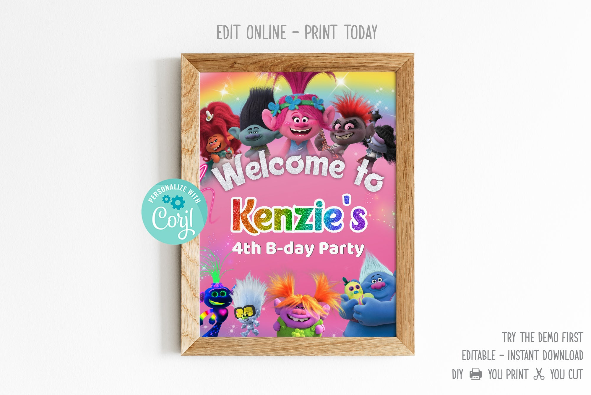 Trolls 2 Welcome Sign - Print Me Pretty