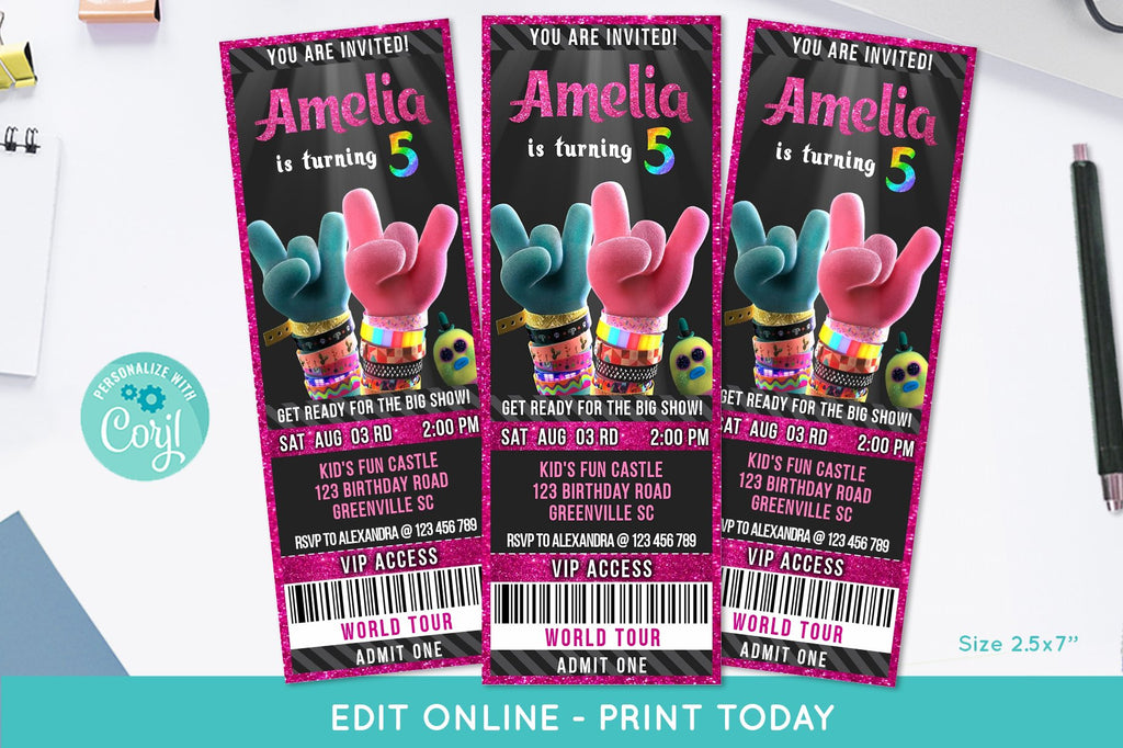 Trolls 2 Movie Ticket Birthday Invitation - Print Me Pretty