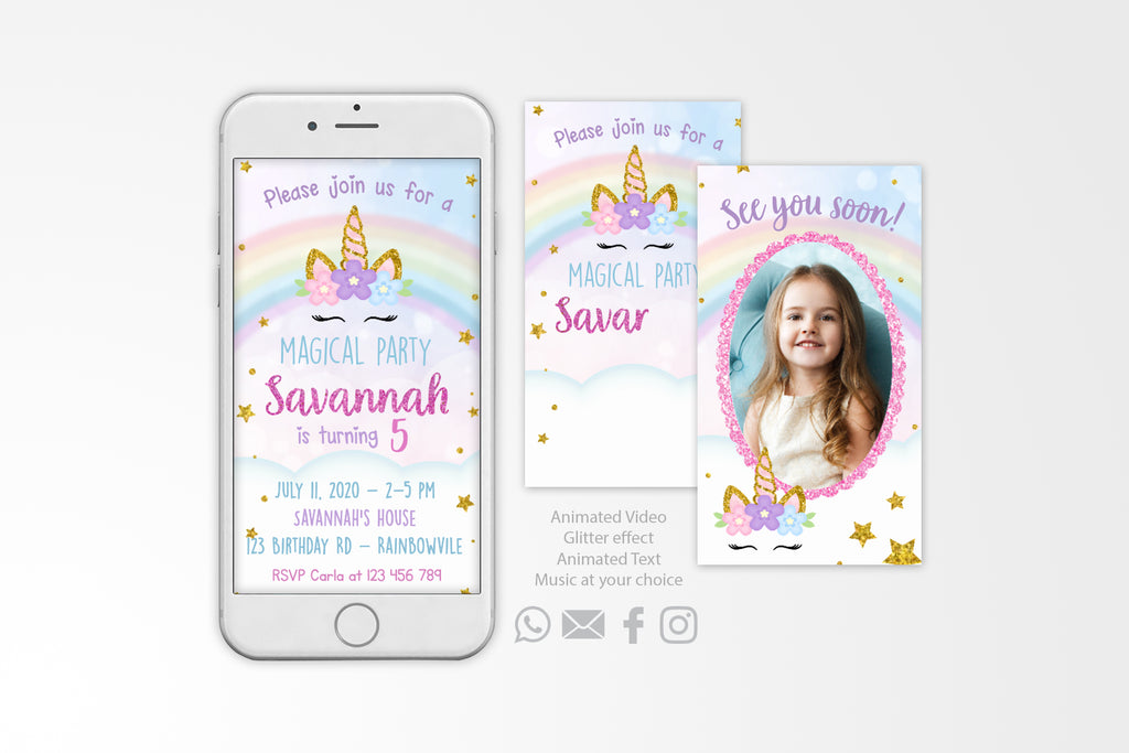 Unicorn Video Invitation - Print Me Pretty