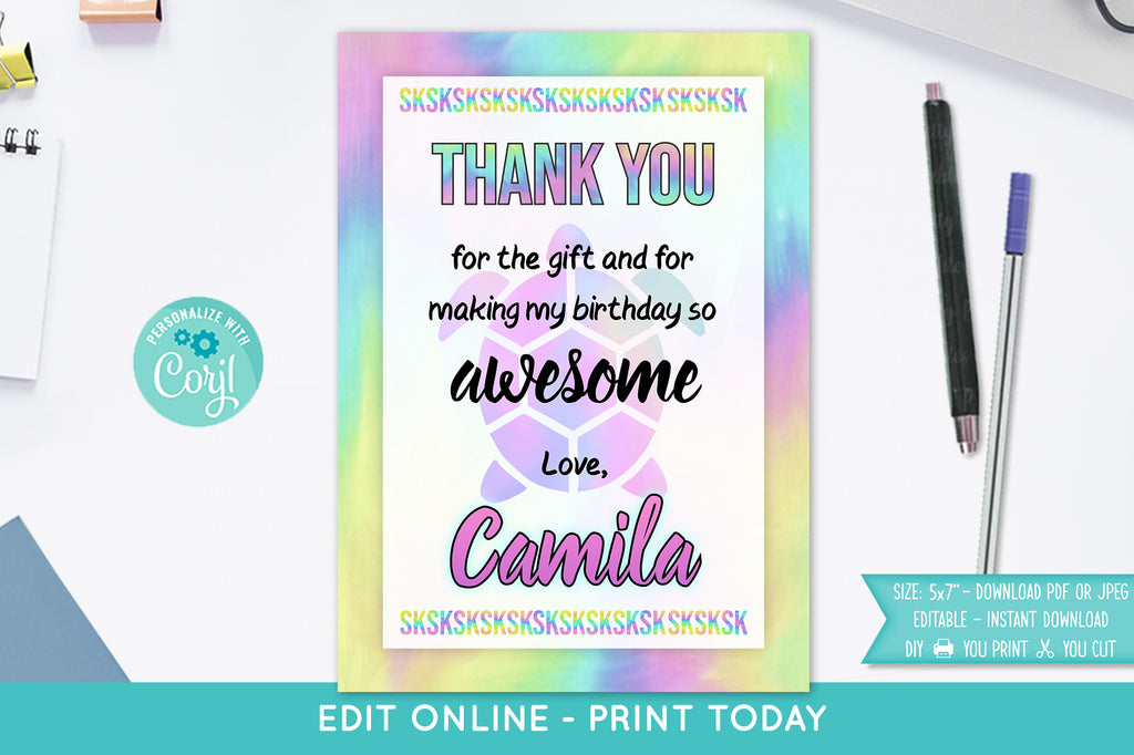 VSCO Girl Thank You Card - Print Me Pretty