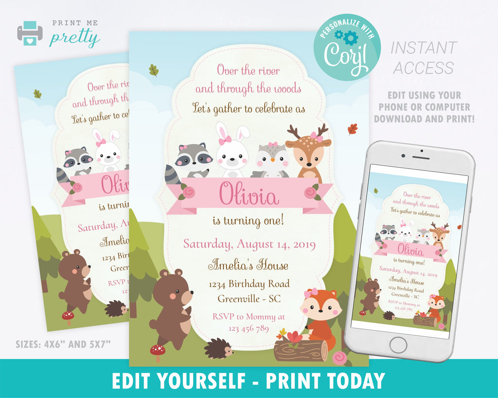 Woodland Creatures Girl Birthday Invitation - Print Me Pretty