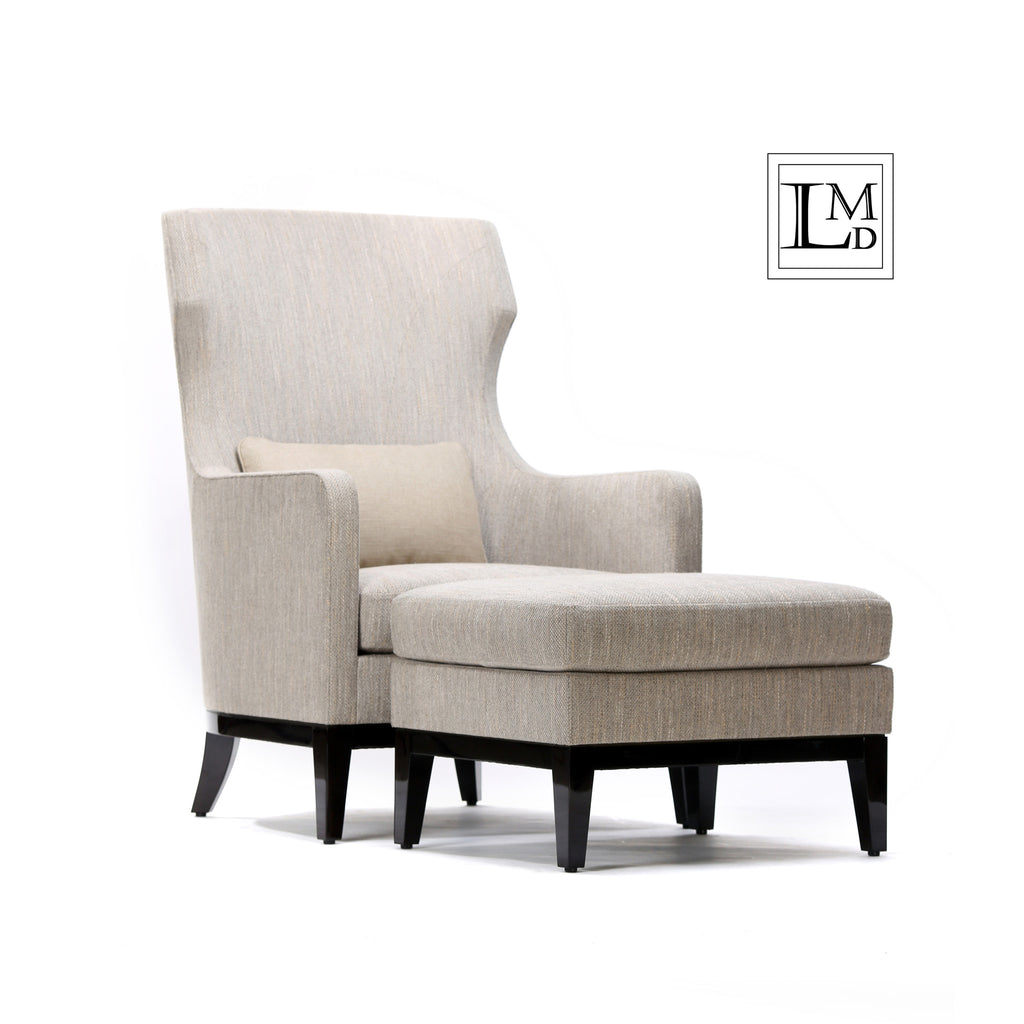 Dad Lounge Chair Grey And Beige Boucle