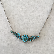 Load image into Gallery viewer, Victorian Turquoise Heart and Wings , Sterling Silver Necklace