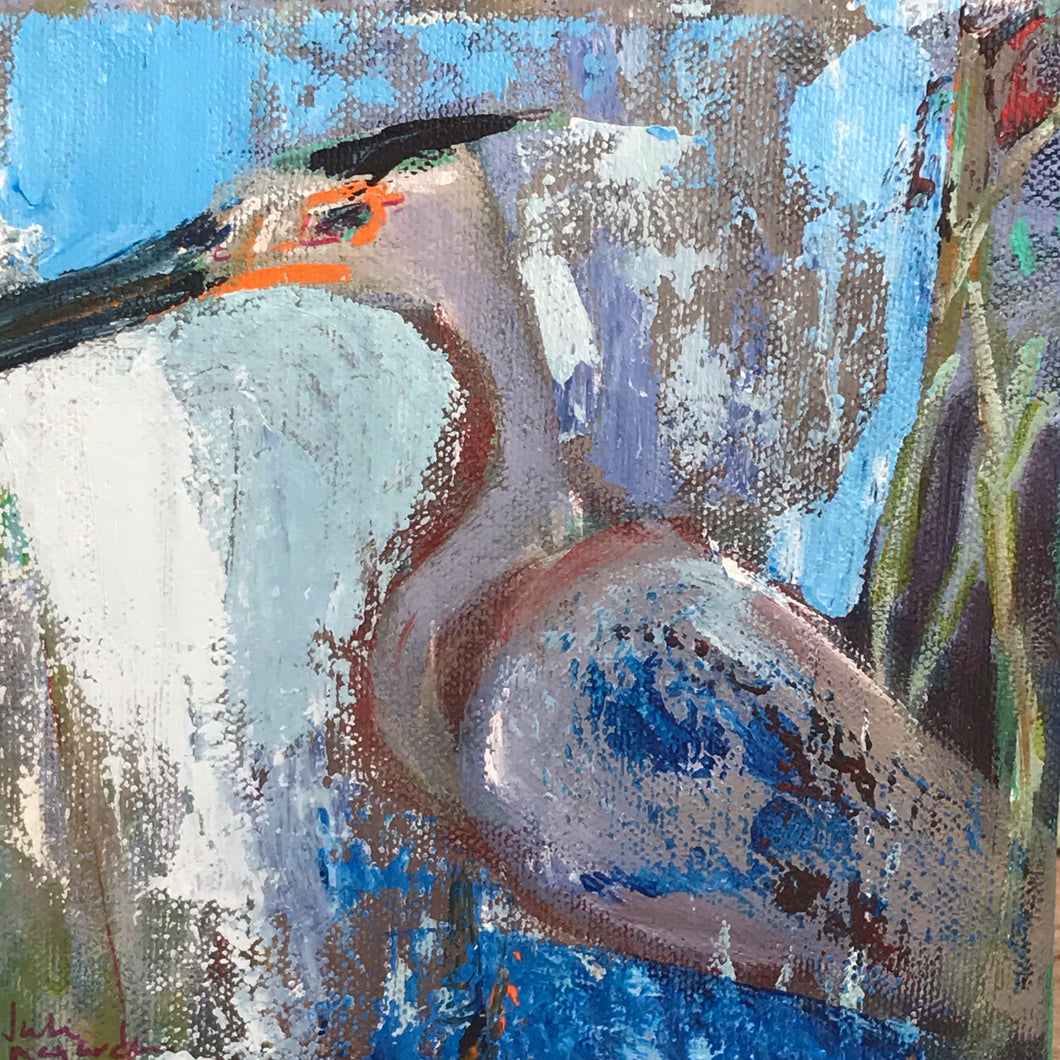Herb, the Great Blue Heron, Original Painting