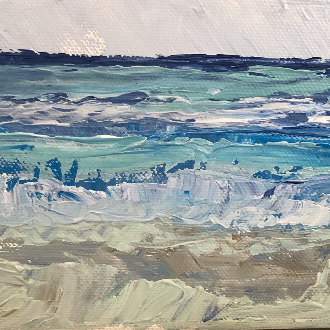 Rolling Surf, Original Painting of the Sea and Sand