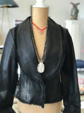 Load image into Gallery viewer, Peplum Hip-Length Leather Jacket with Bell Sleeves in Black Leather