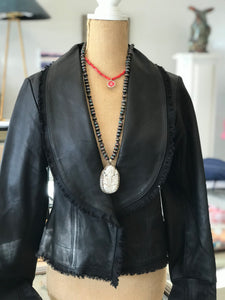 Peplum Hip-Length Leather Jacket with Bell Sleeves in Black Leather