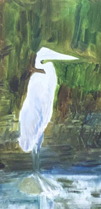 Blue Heron in Wait, Mixed Media on Wood Panel
