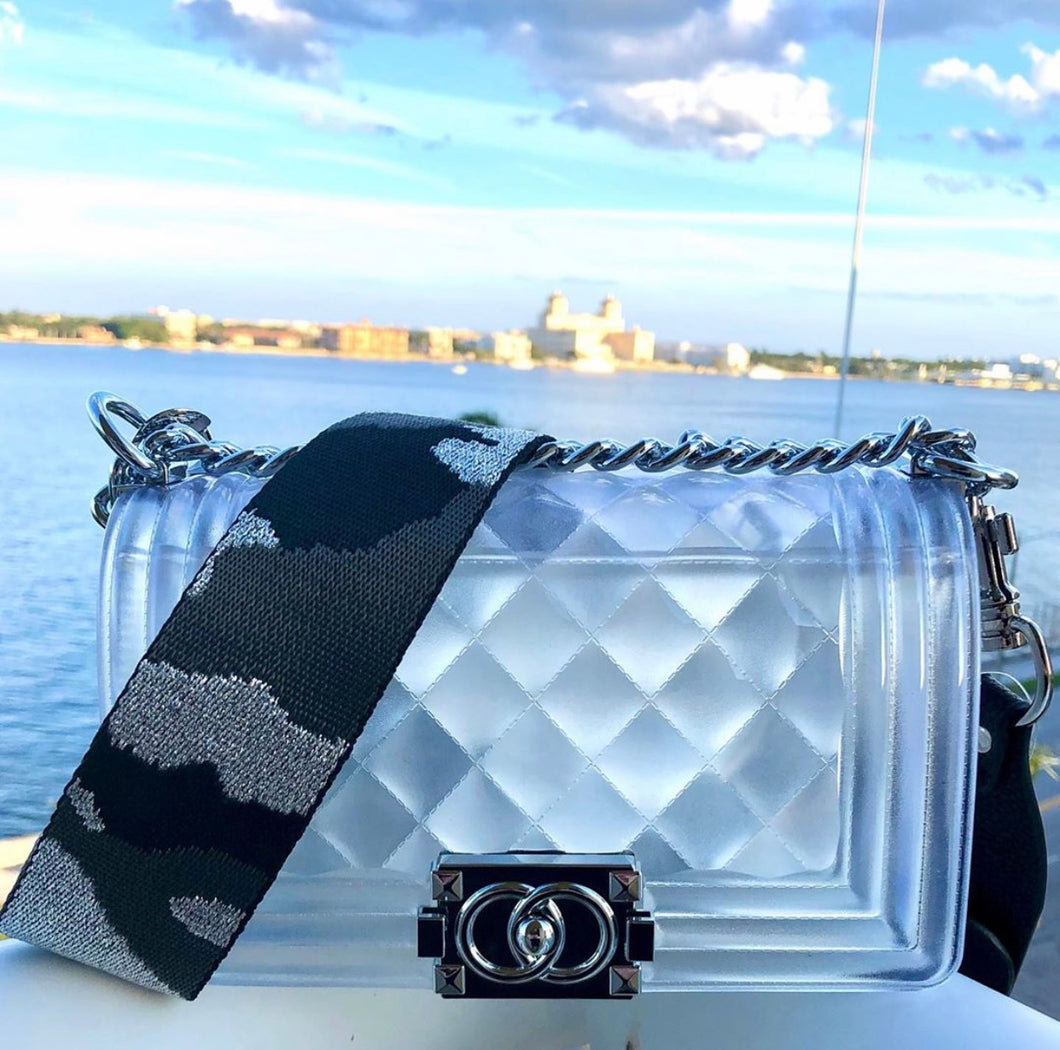 Quilted bag with Silver Hardware and Metallic Black and Grey Camo Strap