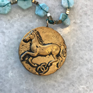 Equestrian Designer Button Necklace, Horse Button