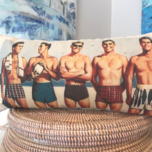 Load image into Gallery viewer, Male Hotties at the Beach Vintage Print Pillow in Color