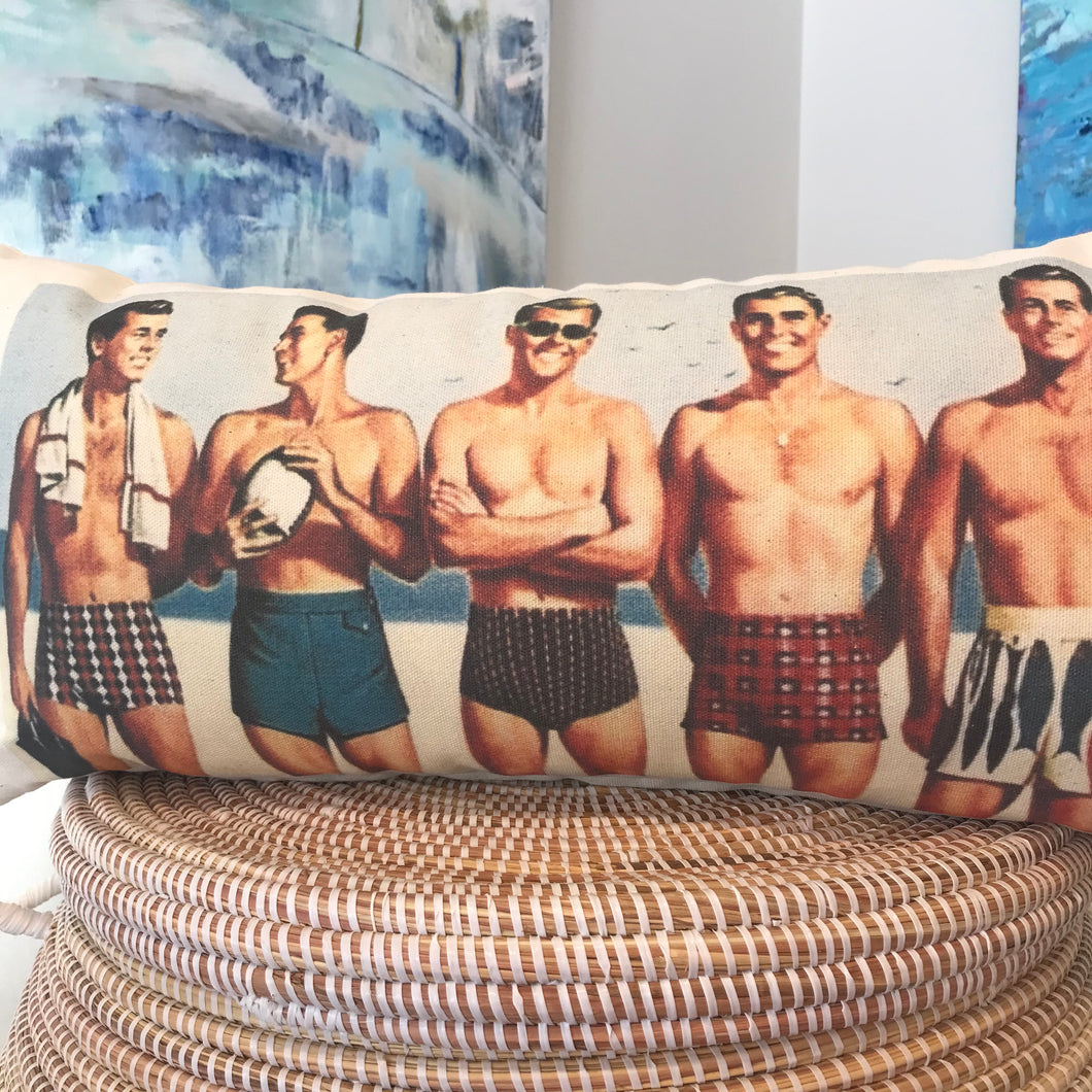 Male Hotties at the Beach Vintage Print Pillow in Color