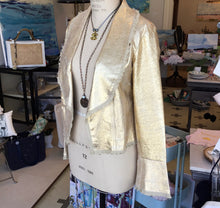 Load image into Gallery viewer, Peplum Hip-Length Leather Jacket with Bell Sleeves in Distressed Gold