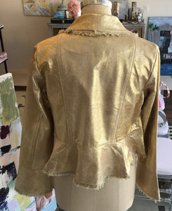 Peplum Hip-Length Leather Jacket with Bell Sleeves in Distressed Gold