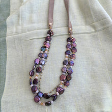 Load image into Gallery viewer, Coin Pearl and Leather Necklace with Gold Chain and Moonstone