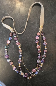 Coin Pearl and Leather Necklace with Gold Chain and Moonstone