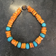 Load image into Gallery viewer, Coral and Turquoise Necklace