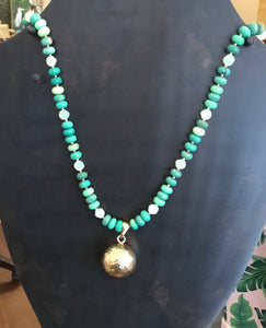 Lucious Green Opal and Glass Necklace with Bell Pendant
