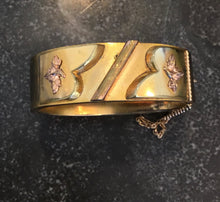 Load image into Gallery viewer, Victorian Gold Bangle Bracelet with Decorative Elements and Engraving
