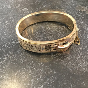 Vintage Victorian Rose Gold Bangle Bracelet with Decorative Buckle