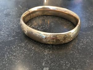 Victorian Rose Gold Bangle Bracelet with Decorative Engraving