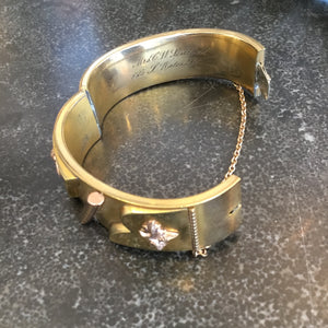 Victorian Gold Bangle Bracelet with Decorative Elements and Engraving