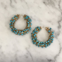 Load image into Gallery viewer, Turquoise and Gold Wire Handmade Hoop Earrings