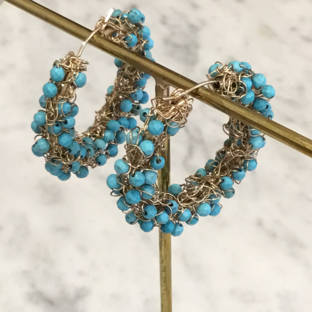 Turquoise and Gold Wire Handmade Hoop Earrings