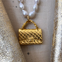Load image into Gallery viewer, Vintage Designer Purse Pendent and Tiny Baroque Pearl Necklace by Elizabeth Jules Designs