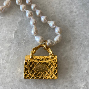 Vintage Designer Purse Pendent and Tiny Baroque Pearl Necklace by Elizabeth Jules Designs