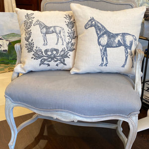 Linen horse and horse shoe pillows