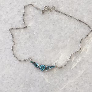 Victorian Turquoise Heart and Wings , Sterling Silver Necklace