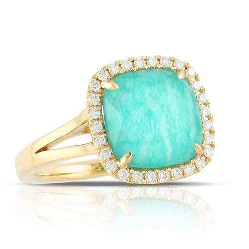 18K Yellow Gold Doves Diamond & Amazonite Ring - 5thavenuedesigns