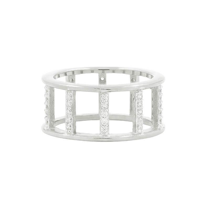 Freida Rothman Platinum Rhodium Plated Sterling Silver Ring - RNPZR04-7 - 5thavenuedesigns