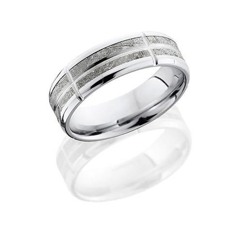 Lashbrook 14k White Gold With Meteorite Segments Wedding Band - 5thavenuedesigns