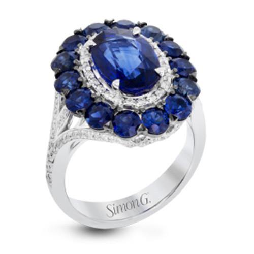 Simon G. 18k White Gold Diamond And Sapphire Ring - 5thavenuedesigns