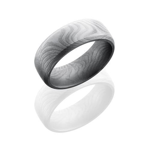 Lashbrook Damascus Steel Band With Flat Twist Polish Men's Wedding Band - 5thavenuedesigns