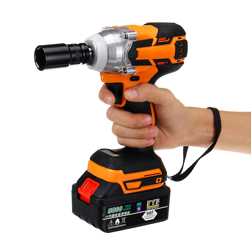 "20V Cordless Impact Wrench Brushless Electric High Torque 1/2"" Driver Tool Two Battery"